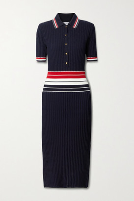 Thom Browne Striped Pleated Cotton-blend Shirt Dress - Navy