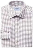 Charles Tyrwhitt Slim Fit Non-Iron Windowpane Check Brown Cotton Dress Casual Shirt Single Cuff Size 16/38