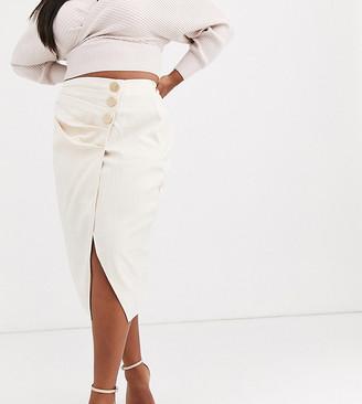 Unique 21 Hero Plus UNIQUE21 Hero Plus midi skirt with pleated button detail in light check