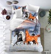 3D Oil Painting Horse Pattern Mangogo 3PC Bedding Sets for Men Boys Multi Color White Queen