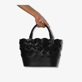 Prada black Vitello Intreccio woven leather tote bag