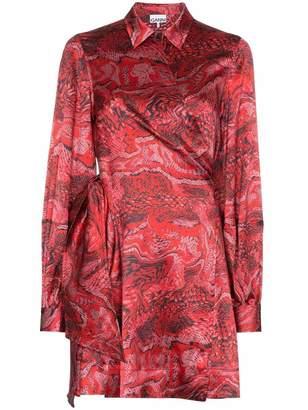 Ganni Puff Satin Snake Wrap Dress