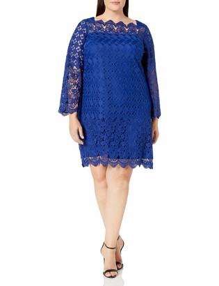 Adrianna Papell Women's Plus Size Womans Florentine Trellis Lace Shift Dress