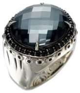 John Hardy Bamboo Hematite, White Quartz, Black Spinel & Sterling Silver Dome Ring