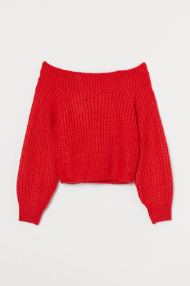 H&M Off-the-shoulder Sweater - Red