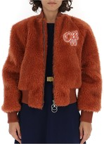 Off-White Off White Logo Patch Fur Bomber Jacket