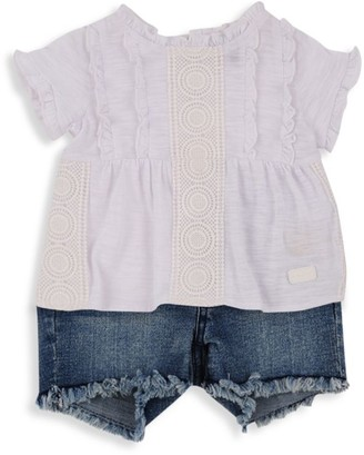 7 For All Mankind Little Girl's 2-Piece T-Shirt & Denim Shorts Set
