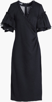 Oscar de la Renta Ruffled Woven Midi Dress