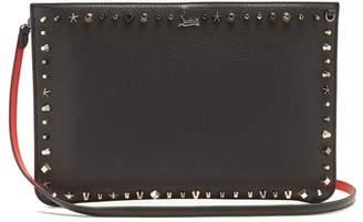 Christian Louboutin Loubi Stud Embellished Leather Clutch - Womens - Black Multi