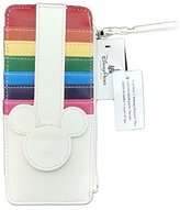 Disney Parks - Mickey Icon Rainbow Credit Card Holder Coin Purse Wallet - White