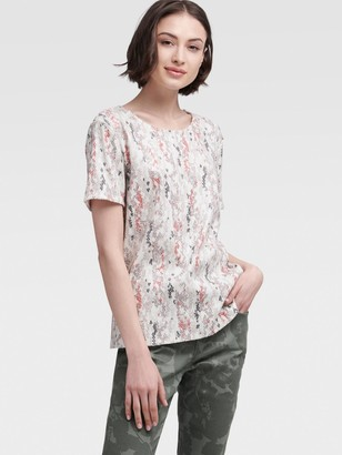 DKNY Women's Sequin Tee With Abstract Print - Ivory Multi - Size XX-Small