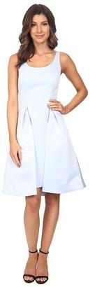 Halston Women's Sleeveless Round Neck Satin Faille Dress