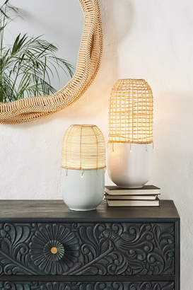 Anthropologie Lucas Rattan Accent Lamp