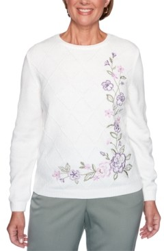 Alfred Dunner Petite Loire Valley Embroidered Chenille Floral Sweater