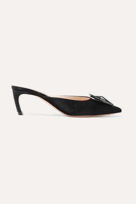 Nicholas Kirkwood Jewel Eden Crystal-embellished Satin Mules - Black