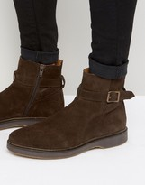 Asos Chelsea Boots in Brown Suede With Strap Detail