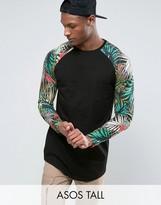 Asos Tall Super Longline Long Sleeve T-Shirt With Floral Raglan And Curve Hem