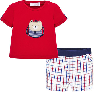 Mayoral Boy's Backpack Bear T-Shirt w/ Grid Shorts, Size 4-18 Months