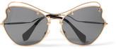 Miu Miu Scenique Cat-eye Gold-tone Sunglasses
