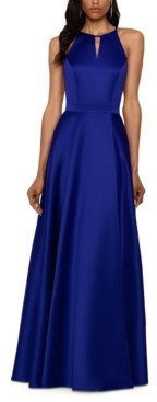 Xscape Evenings Stretch Satin Open-Back Gown
