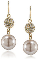 Carolee Pink Champagne Faux-Pearl & Fireball Double-Drop Statement Earrings