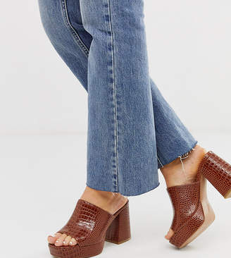 Asos Design DESIGN Wide Fit Happy chunky platform mules in chesnut croc-Pink