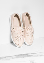 Missy Empire Tricia Nude Knot Front Flatforms