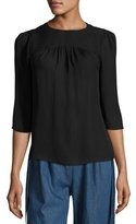 Creatures of the Wind 3/4-Sleeve Gathered-Neck Blouse, Black