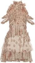 Alexander McQueen Floral-print ruffled silk dress