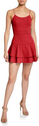 Alice + Olivia Palmira Mini Ruffle Tank Dress