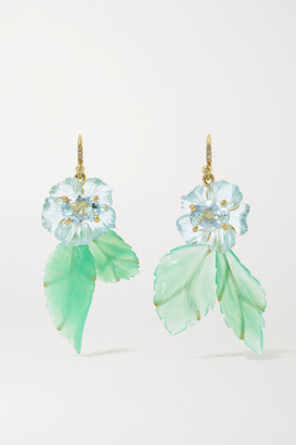 Irene Neuwirth Tropical Flower 18-karat Gold Multi-stone Earrings - one size