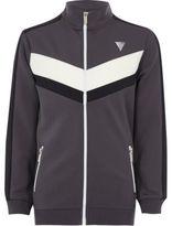 River Island Boys grey block panel zip track jacket