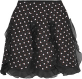 Giambattista Valli Silk organza-trimmed printed crepe mini skirt