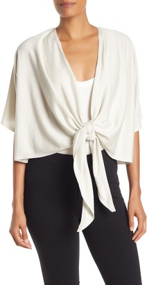Eileen Fisher Tie Front Short Sleeve Cardigan