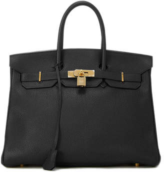 Hermes Pebbled Leather Medium Birkin Satchel Bag, Black