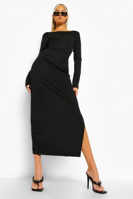 boohoo Tall Rib Scoop Neck Low Back Midaxi Dress