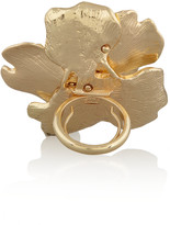Kenneth Jay Lane Gold-plated crystal flower ring
