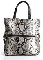 Lanvin Black Gray Snakeskin Print Canvas Convertible Satchel Tote Handbag EVHB