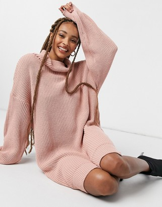 In The Style x Jac Jossa roll neck jumper dress in pink