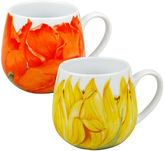 Konitz Set of 2 Poppy and Sunflower Coffee Mugs