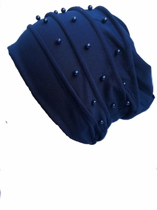 Shoes Lane New Ladies Coloured Pearl Under Hijab Scarf Bonnet Bone Cap Hat Turban One Size (Navy)