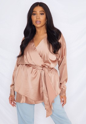 Missguided Plus Size Mocha Satin Plunge Tie Waist Blouse