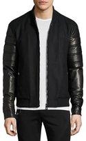 Versace Leather-Sleeve Bomber Jacket, Black