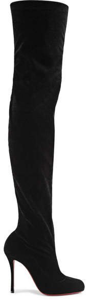 Christian Louboutin Classe 100 Stretch-velvet Over-the-knee Boots - Black