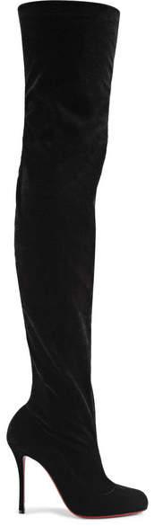 Christian Louboutin Classe 100 Stretch-velvet Over-the-knee Boots - Black