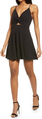 Lulus All About That Love Twist Front Skater Dress