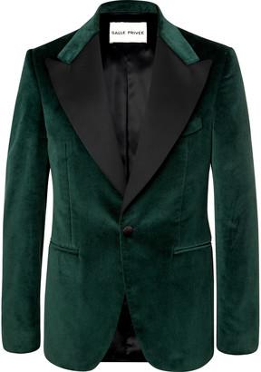 Salle Privée Green Ander Slim-Fit Satin-Trimmed Cotton-Velvet Tuxedo Jacket