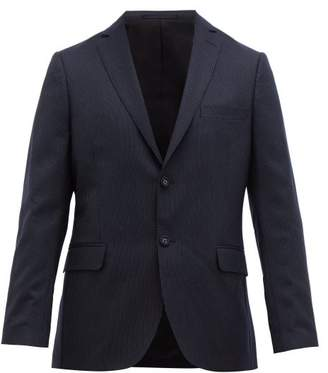 Officine Generale 375 Single Breasted Pinstriped Wool Jacket - Mens - Navy