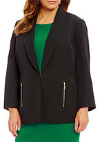 Kasper Plus Stretch Crepe Open-Front 3/4 Sleeve Topper