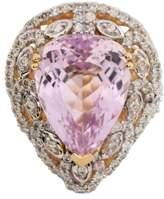 ai 14KT Yellow Gold Kunzite and Diamond Ring